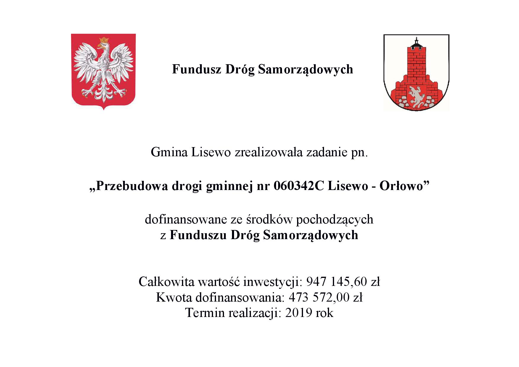 Tablica informacyjna dotycząca dofinansowania przebudowy drogi Lisewo - Orłowo