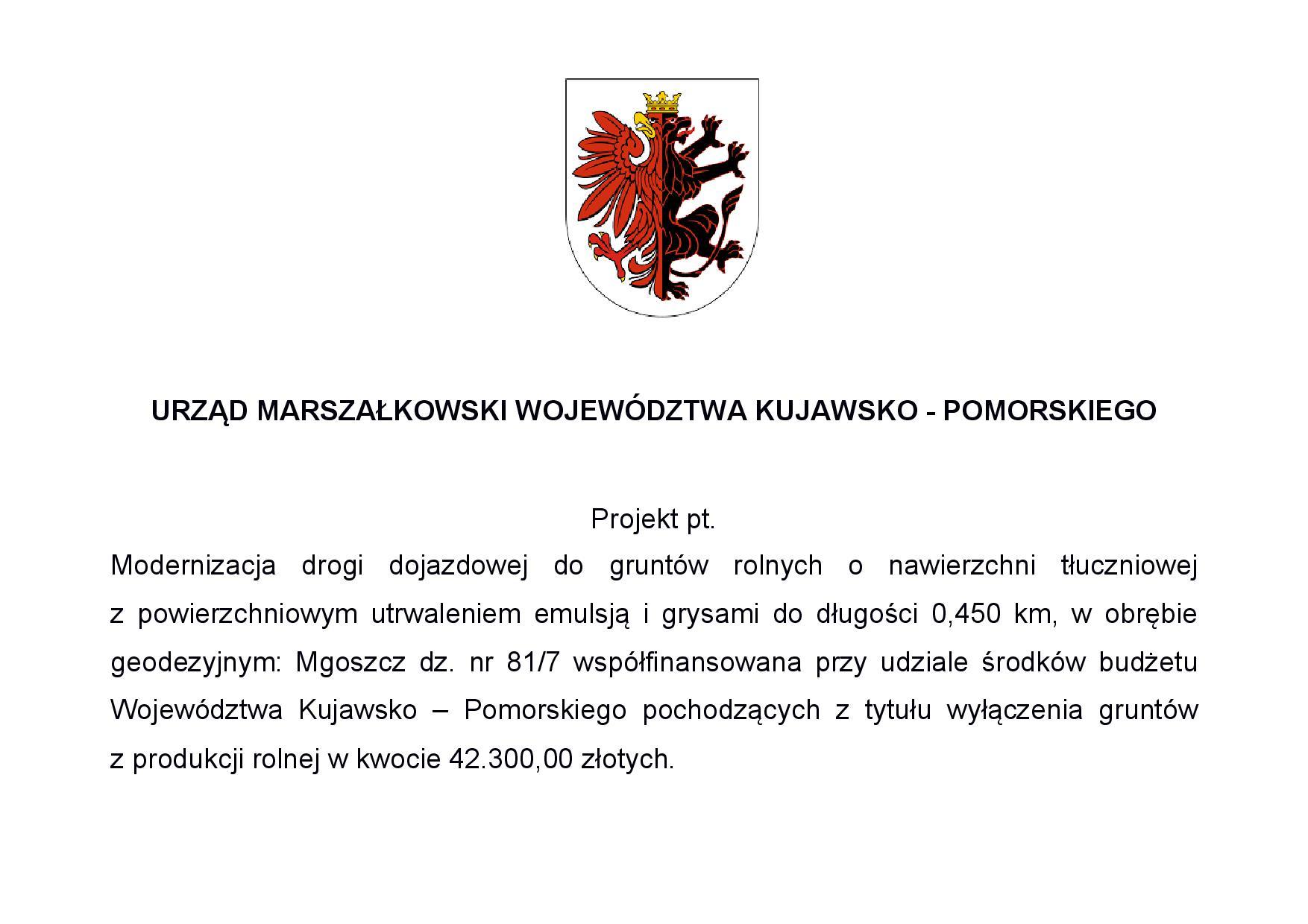 Tablica informacyjna dotycząca dofinansowania modernizacji drogi w miejscowości Mgoszcz