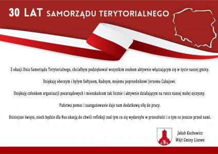 Życzenia Wójta Gminy Lisewo dla mieszkańców Gminy z okazji 30 lecia samorządu terytorialnego.
