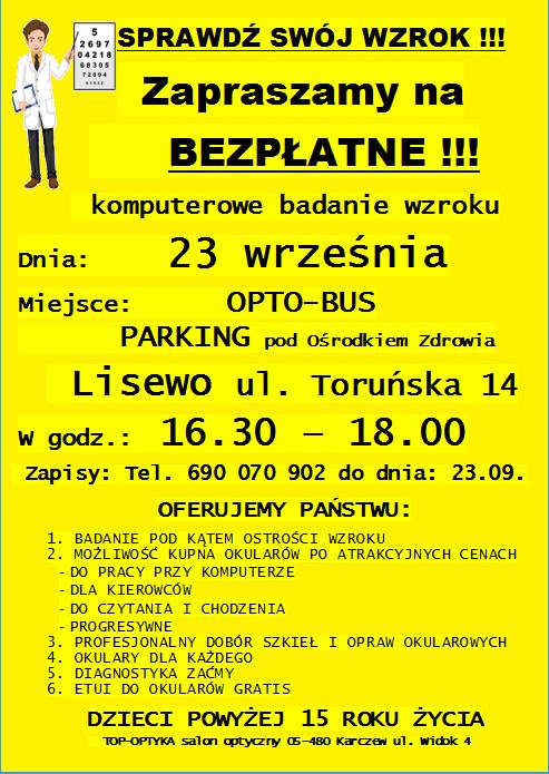 Plakat informacyjny - badanie wzroku
