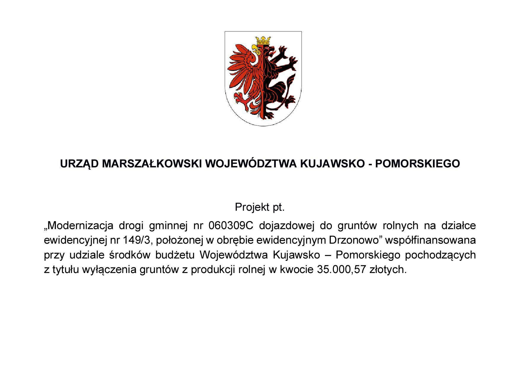 Tablica informacyjna - droga w Drzonowie