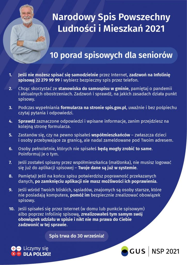 Plakat informacyjny - 10 porad dla seniora